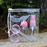 HOKIPO Plastic Multipurpose Cosmetic Travel Pouch Kit with 2 Empty Refillable Bottles and Jars, Pink