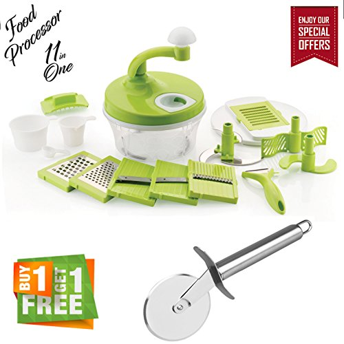 Bagonia | Special Offer | Ankur 11 In 1 Manual Food Processor With Free Pizza And Pastry Cutter With Stainless Steel Cutting Wheel, Chopper, Blender, Atta Maker, Salad Maker, Slicer, Grater, Churner, Peeler (Buy 1 Get 1 Free)
