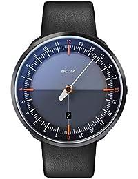 Botta Diseño de uno 24Plus Black Edition Reloj de pulsera–24H einzeiger Reloj, acero inoxidable, cristal de zafiro antirreflejos, correa de piel