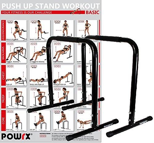 Powrx Dip Barren (Paar)   Push Up Stand Bar   Dip Station   Fitness Rack   Core Trainer (76 x 57 cm)