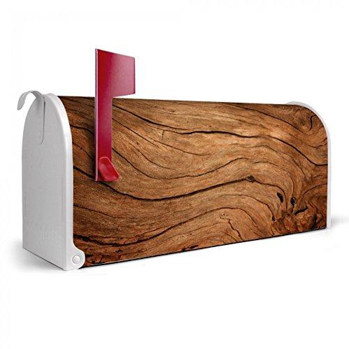 BANJADO US Mailbox | Amerikanischer Briefkasten 51x22x17cm | Letterbox Stahl weiß | mit Motiv Trockenes Holz, Briefkasten:ohne Standfuß