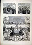 Old Original Antique Victorian Print Lord Mayor Banquet York 1873 Dinner Guildhall Flags 04Mar1