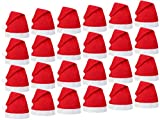 Set di 24 Cappelli da Babbo Natale con Pon Pon (wm-32) Rosso Bianco di Feltro per Adulti Uomo Donna di Alsino