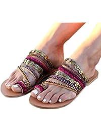 Minetom Chaussons Femmes Pantoufles Mode Vintage Bohême Flip Flops Tongs  Plates Sandales Slippers Été Boho Peep ac9d825dc64e