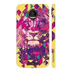 Enthopia Designer Hardshell Case Lion Art Yellow Back Cover for Motorola Moto Z