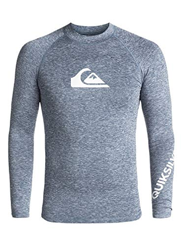 Quiksilver Herren All Time L/sl Surf Tee, Dark Denim Heather, L - Quiksilver Blue Denim