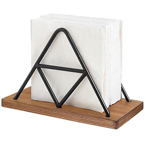 MyGift Moderne Triangle Draht & Holz Serviettenhalter