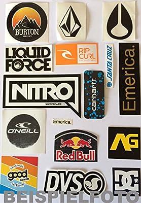 Sticker Set Skate Snow Surf und Wake Labels Brand und Marken Aufkleber - Pack 1