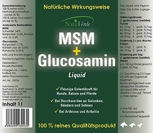 NatuVerde MSM + Glucosamin Liquid, 1l, flüssige Gelenkkraft für Hunde, Katzen und Pferde