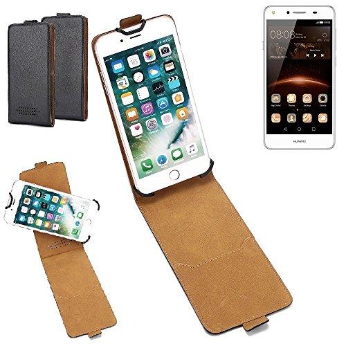 K-S-Trade Hülle für Huawei Y5 II Single SIM Tasche Handyhülle Schutzhülle Handytasche Case Schutz-Hülle 360° Smartphone Flip Style Case Flipcase Kameraschutz aus Kunstleder