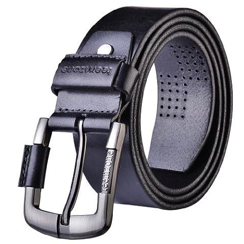 Teemzone Men's Genuine Leather Antique Style Dress Jean Single Prong Belt (120 Waist Size 37