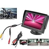 Xpccj 10,9cm TFT LCD Monitor Auto Rear View System Backup Reverse + Wasserdicht Reverse Parking Kamera, Schwarz