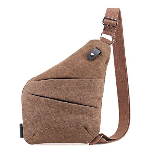 BULAGE Paket Retro Leicht Robust Männer Leinwand Schulter Brust Tasche Multifunktional Schulter Rucksack Tasche Stilvoll Komfortabel Brown