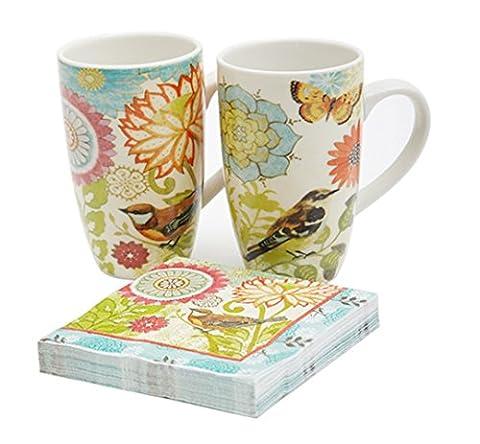 Cypress Home Keramik Grande verschweisste Cup 12Oz Set of 2mit Serviette Nature 's Garden