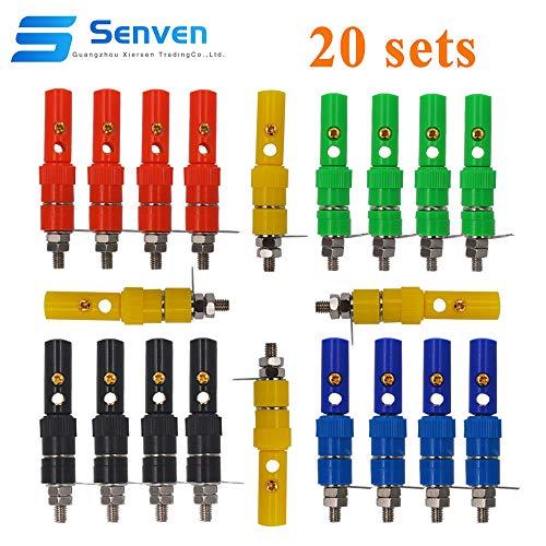 Senven 40 Stücke Bananenstecker, 4mm Bananenstecker Adapter, Bananenstecker Terminal, Bananen panel Buchse - 5 Farben (20 männlich + 20 weiblich)