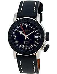 Glycine Airman 18 Sphair Automatic GMT World Timer Steel Mens Strap Watch 3928.191 LB9B
