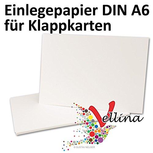 50x Einlege-Papier DIN A6 für Kartenkartons und Faltkarten - Naturweiß - FSC Zertifiziert! - 148 x 210 mm - 90 g/m² - Qualitätsmarke: NEUSER Vellina!