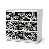 Klebefolie Sticker Aufkleber für Ikea Malm 3 Schubladen | Möbel umgestalten Dekor-Folie Möbel-Folie | Kreativ einrichten Schlafzimmer-Möbel Gestaltungsideen | Muster Ornament Weißer Kranich