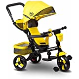 Baybee Hubble Trolly Cycle Tricycle With Canopy and Parent Control (Yellow)