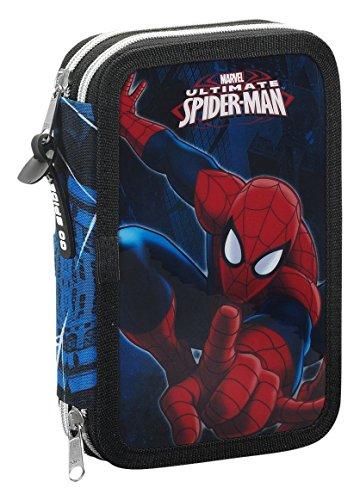 Spiderman – Plumier Doble, 34 Piezas, Color Azul (SAFTA 411543054)