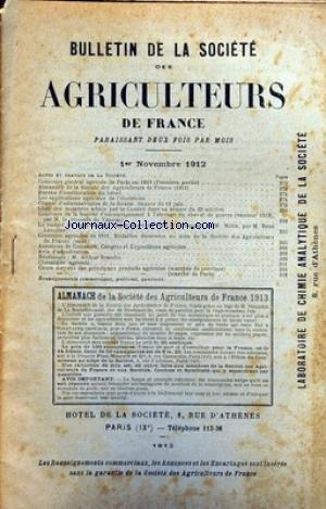 BULLETIN DE LA SOCIETE DES AGRICULTEURS DE FRANCE du 01/11/1912