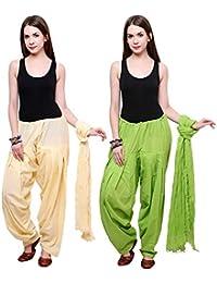 Fashion Store Women Cotton Patiala Salwar With Dupatta (Free Size, Light Green & Skin Colour)
