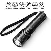 IPX8 Linterna LED Impermeable, BlitzWolf XP-G3 S4 750 Lúmenes Mini Linterna LED de Bolsillo 4 Modos Linterna Portátil LED con Cordón para Acampada, Ciclismo, Pesca, Hogar y Autodefensa(Batería No Incluida)