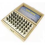 Toolzone - Set de tampones para grabado de alfabeto y números (metal, 3mm, 36 piezas)