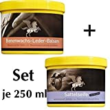 Sattelseife + Lederfett farblos a 250 ml SET Reiniger + Schutz für Handtaschen, Schuhe, Motorradkombi, Handschuhe, Auto, Sattel