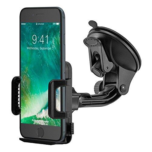 MidGard Saugnapf KFZ Handy Halterung Halter Auto universal (min. 50mm / max. 95mm Breite) Gummierte Klemmbacken für iPhone SE, 5, 5S, 6, 6S, 7, 7 Plus / Galaxy S5, S6, S7, S7 Edge, Note 4, Note Edge / Huawei P8, P9, Lite, Plus / Sony Xperia Z3, Z5, Premium, Compact, XZ, X / HTC M8, M9, M10 und andenre Handy, Smartphone, Phablet, Navigationsgeräte