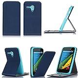 Tasche Motorola Moto G 4G/LTE Leder Hülle Blau Stand UP