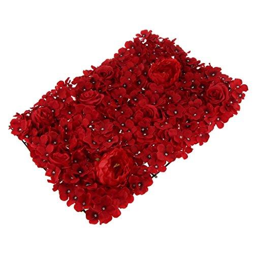 B Blesiya Künstliche Rose Wall Blumenwand Panels Startseite Hochzeitstag Hintergrund DIY Dekoration - rot, 65 x 45 cm -