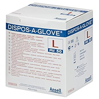 Ansell Dispos-A-Glove, Powder Free Examination Gloves, Sterile, Large, Box of 50