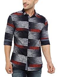 SHOWOFF Men's Cotton Full Sleeve Slim Fit Checks Casual Shirt (BlueThiunderPrint2663_Multi)