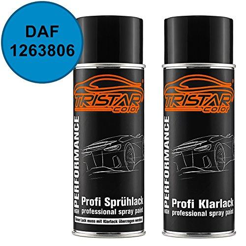 TRISTARcolor Autolack Spraydosen Set DAF 1263806 Blauw Basislack Klarlack Sprühdose 400ml