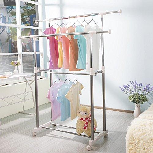 QFFL Rack de manteau au sol à double poteau / Rack de vêtements pliable pratique / cintres de balcon intérieur réglable / Rack de stockage de vêtements de grande capacité (3 couleurs disponibles) Cintre mural ( Couleur : Blanc , taille : B )
