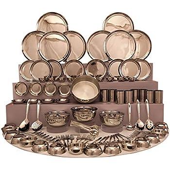 Shri & Sam Stainless Steel Dinner Set, 101 Pieces - Silver