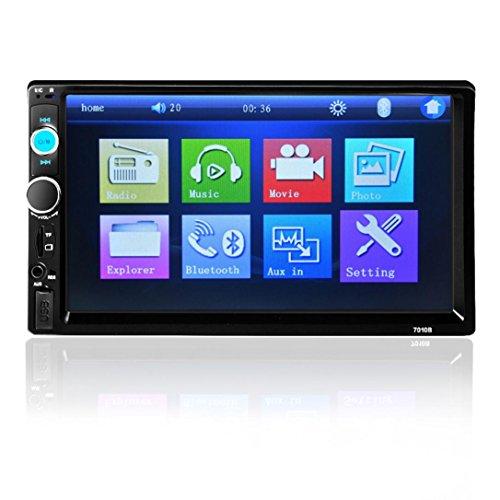 Radio estéreo de automóvil, Lanowo 7 '' HD Bluetooth de pantalla táctil digital de host de reproductor multimedia con luz de fondo de colores de botón de encendido compatibles con conexión inalámbrica Bluetooth y manos libres para teléfono Función de