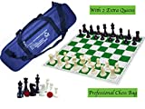 Paramount Dealz Professional Plastic Vinyl Chess Set with 2 Extra Queens and Bag