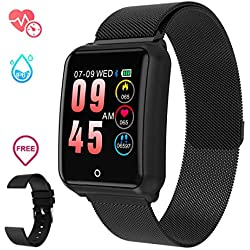 GOKOO Smartwatch Hombre Relojs Inteligente IP68 Impermeable Reloj Deportivo con Cronómetro Monitor de sueño Podómetro Calendario Control Remoto de música Pulsera Actividad Fitness Tracker