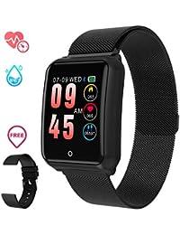 GOKOO Smartwatch Relojs Inteligente IP68 Impermeable Reloj Deportivo con Cronómetro Monitor de sueño Podómetro Calendario Control Remoto de música Pulsera Actividad Fitness Tracker (Negro)