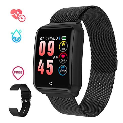 Smartwatch Herren, GOKOO Smart Uhr Stylische IP67 Wasserdicht Sportuhren Männer Jungen Aktivitätstracker mit Pulsmesser Kalorienzähler Schlaftracker 8 Trainingsmodi für Android IOS (Schwarz)