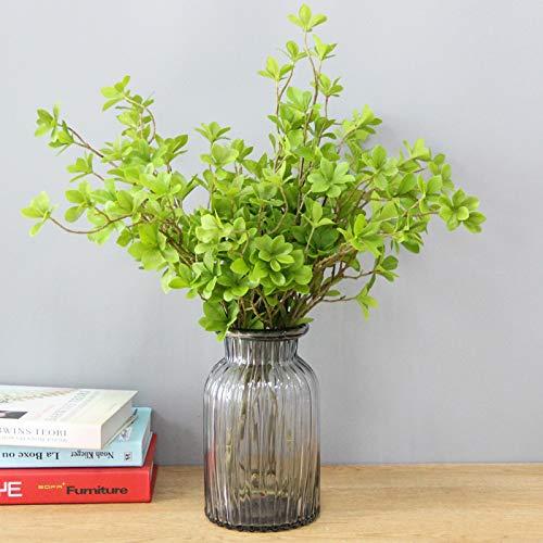 SloyBaden Gefälschte Blumen Pflanzen Künstliche Blumen Pflanzen grüne Blätter Bouquet Blumenschmuck, neun Zhi + Ruß vertikale Vase Russ Vase