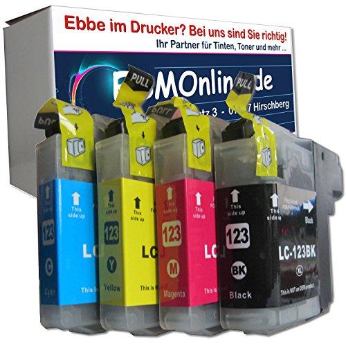 ESMOnline 4 komp. Druckerpatronen (4 Farben) für Brother MFC J245 J870DW J4410DW J4510DW J4610DW J470DW J4710DW J650DW J6520DW J6720DW J6920DW DCP J132W J152W J4110DW J552DW J752DW (LC123)