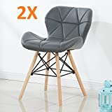 P&N Homewares SET OF 2 Cecilia Eiffel Millmead Inspired Chair Plastic Retro White Black Grey Red Dining Chair Office Chair Lounge (GREY)