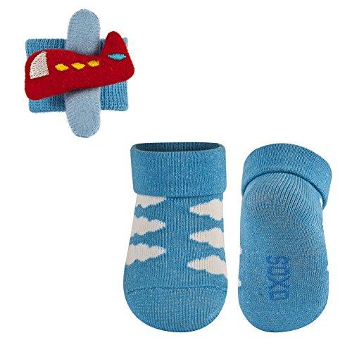 Babysocken Kindersocken Erstlingssöckchen Füßefinder mit Handgelenkrassel Spielsocken für Baby 11 cm Flugzeug