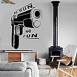 woyaofal Pistole Vinyl Wandtattoo Zitat Gangster Waffe Dekoration Zimmer Aufkleber Wandbilder Büro...