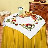 Kamaca Stickpackung Mohnblumen UND Schmetterlinge Kreuzstich vorgezeichnet aus 100% Baumwolle zum Selbersticken (Tischdecke 80x80 cm)