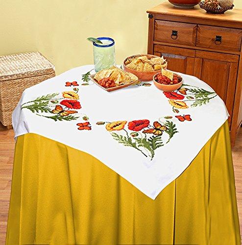"""KAMACA Zauberhafte Stickpackung """" MOHNBLUMEN UND SCHMETTERLINGE """" - Stickdecke - Kreuzstich vorgezeichnet - Stickdecke und Stickgarn aus 100 % Baumwolle - fertig gesäumt mit eingewebtem Zierrand - qualitativ hochwertig - zum Sofort-Loslegen - zum Selbersticken - zur Auswahl stehen Mitteldecke und Tischläufer - NEU aus dem KAMACA-SHOP (Tischdecke 80x80 cm)"""