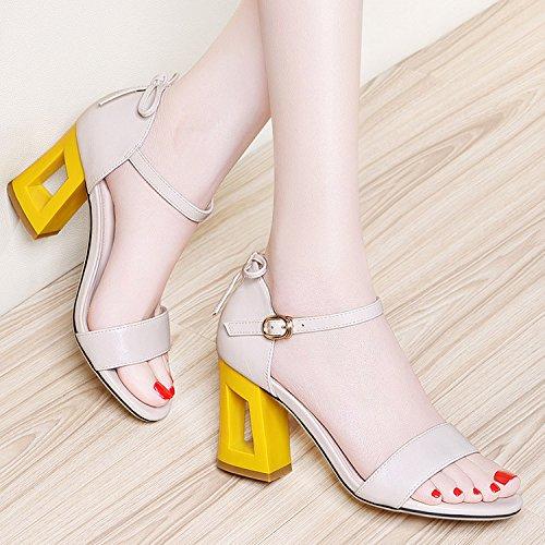 ZPPZZP La sig.ra sandali scanalato in stile occidentale punta aperta con tacco alto ruvida 37EU